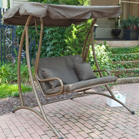 outside swings with canopy coral coast long bay 2 person canopy swing chocolate
