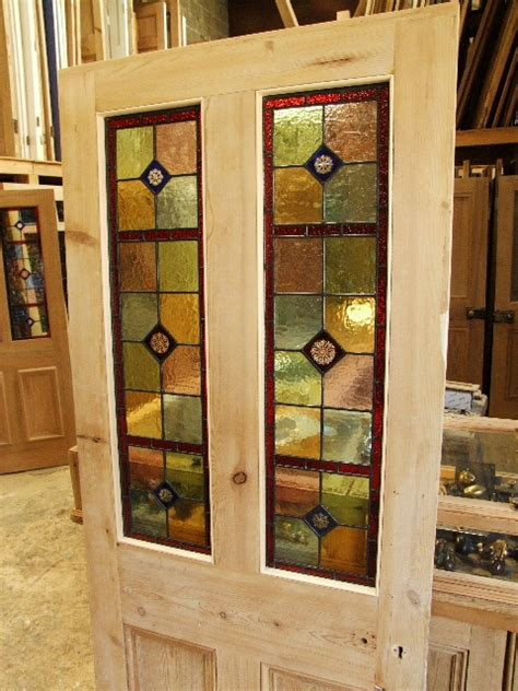 The Stained Glass Doors Company Antique Stained Glass Reclaimed Front Door Stained Glass Doors Company