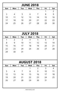 Calendar 2018 June July August 2018 Monthly Planner For July And August Calendar Template