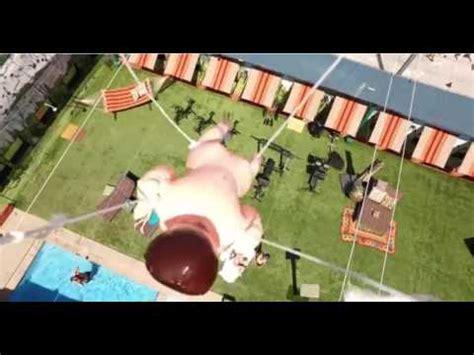 big brother backyard drone carries gidget the midget over the big brother