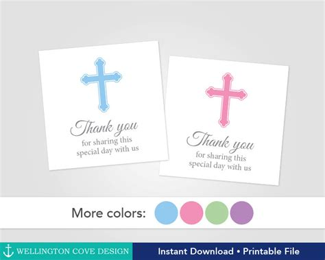 printable thank you tags for baptism printable baptism favor tags christening favor stickers