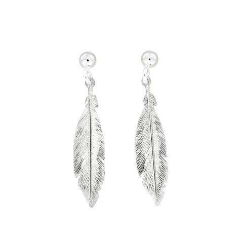Silver Feather Earrings   Azendi Jewellery
