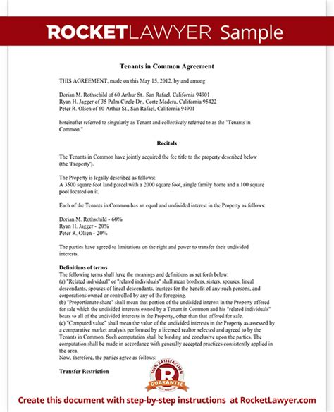 joint tenancy agreement template tenants in common agreement form template with sle