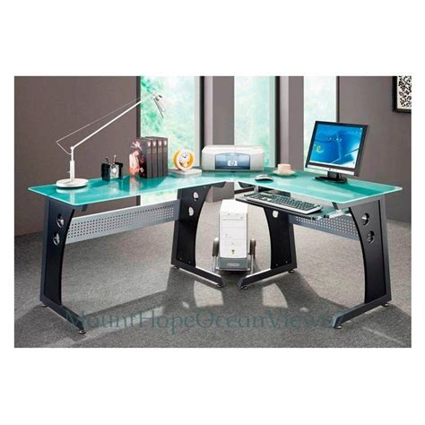 Glass Top Computer Desk Modern Graphite Corner Gaming Home Office Desk With Glass Top