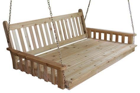 unfinished porch swing 6 cedar swing bed traditional english unfinished
