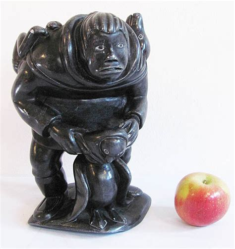 Soapstone Canada by Large Canadian Eskimo Inuit Soapstone Carving By