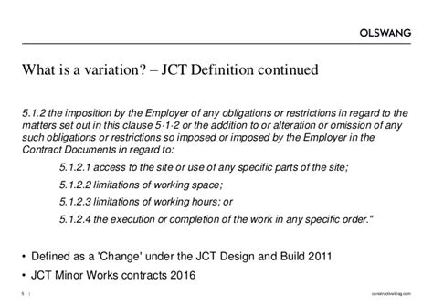 jct design and build contract 2011 variations variations and their consequences olswang construction