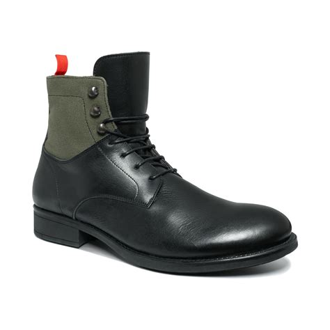 soft boots for kenneth cole soft side laceup boots in black for lyst