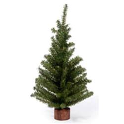 18 inch green mini artificial christmas tree wood base