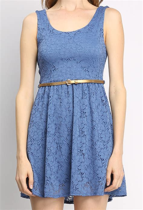lace flare dress w belt shop dresses at papaya clothing
