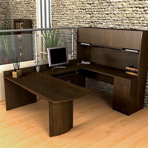 u shaped office desk with hutch bestar executive u shape wood office set w hutch chocolate