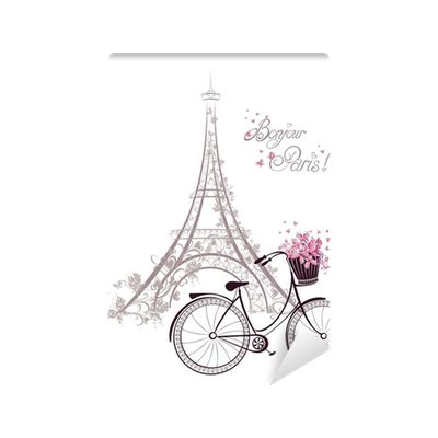 eiffel tower curtain panel set bonjour paris bicycle teen bonjour paris text with eiffel tower and bicycle wall