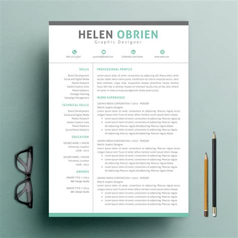 Free One Page Resume Website Template by 9 One Page Resume Templates Free Premium Templates