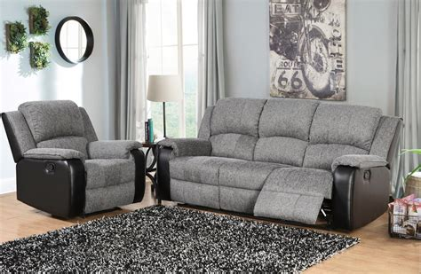 Fabric And Leather Sofa Sets Grey And Black Fabric And Faux Leather Sofa Set Homegenies