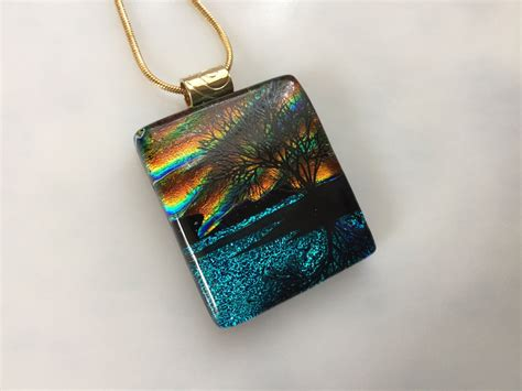 dichroic glass jewelry fused glass jewelry dichroic reflection tree pendant sunset