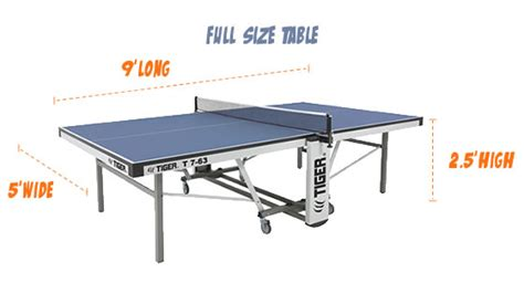 how long is a table tennis table tiger pingpong room size chart