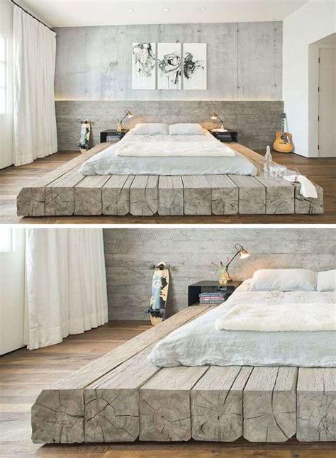 chambre flottante lit futon et lit plateforme pour chambre adulte contemporaine