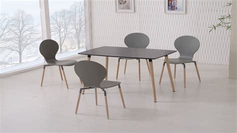 Dining Table And Chairs Black Black Dining Table And 4 Grey Chairs Homegenies