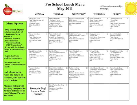 preschool menu template blank lunch menus for daycare calendar template 2016