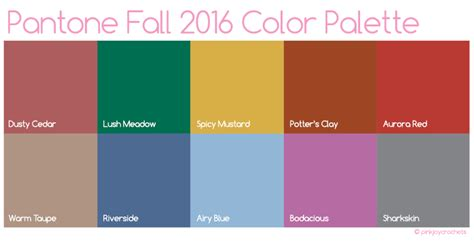 colour of 2016 fall 2016 fashion color palette pinkjoy crochets