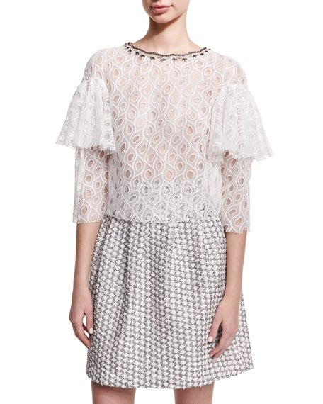 Ruffle Sleeve Lace Top lhuillier ruffle sleeve lace top white