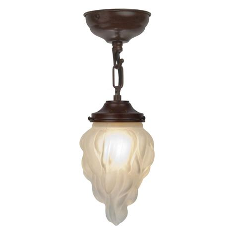 deco flambeau glass ceiling pendant on antique frame