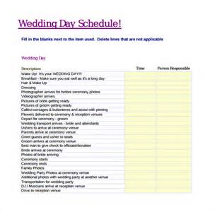 day schedule template sle wedding schedule 9 documents in pdf