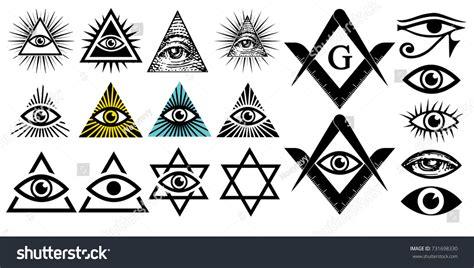 all illuminati signs all seeing eye illuminati symbols masonic stock vector