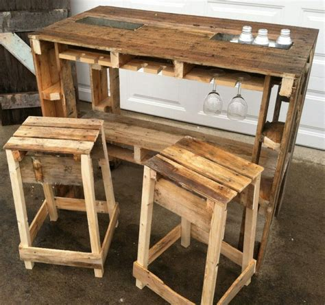 Pallet Bar Stools by Wood Pallet Bar And Stools Furniture Wood