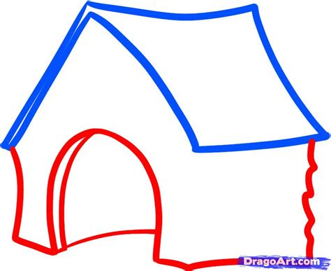 How To Draw A Dog House Step By Step Buildings Landmarks Places Free Online