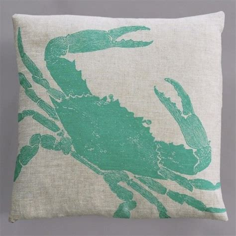 turquoise bed pillows big crab turquoise pillow on natural linen modern
