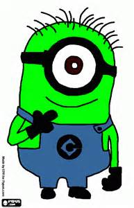 minion green coloring printable minion green