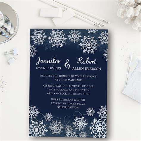 blue wedding invitations affordable navy blue snowflake winter wedding invitations