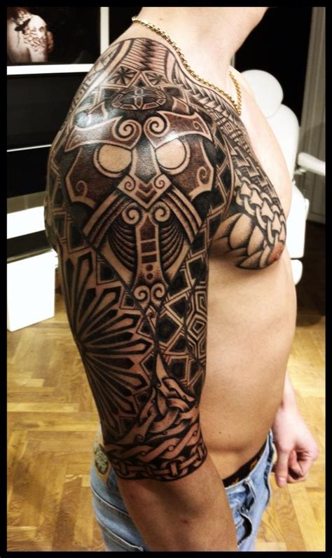 viking armor tattoo nordic design with polynesian inspired by meatshop
