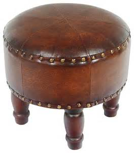 Small Ottoman Footstool Faux Leather Small Brown Ottoman Traditional