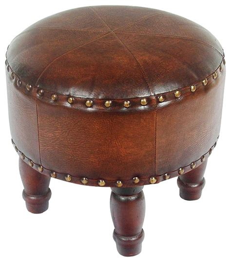 small leather ottoman faux leather small brown ottoman traditional