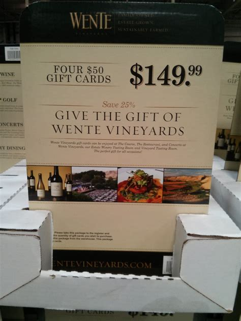 Gift Cards Sold At Costco - wente vineyards discount gift card