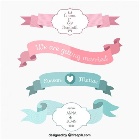 wedding ribbon wedding ribbons collection vector premium