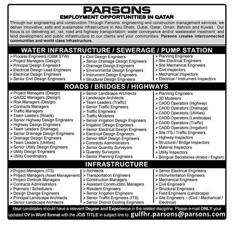 design engineer jobs qatar parsons hiring engineers on abu dhabi dubai qatar oman