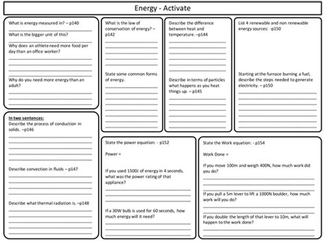ks3 activate science energy topic revision worksheet by