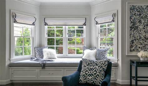 bedroom bay window seat master bedroom bay window bench with navy greek key roman shades transitional bedroom
