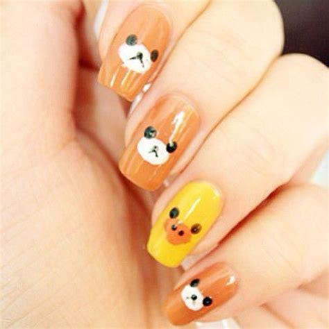 super cute brown bear pattern fake nails japanese pure 12 curated san x ideas by orangepea logos coin purses