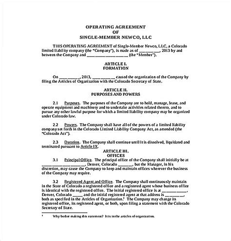 11 Operating Agreement Template For A Secure Company Management Ny Llc Operating Agreement Template