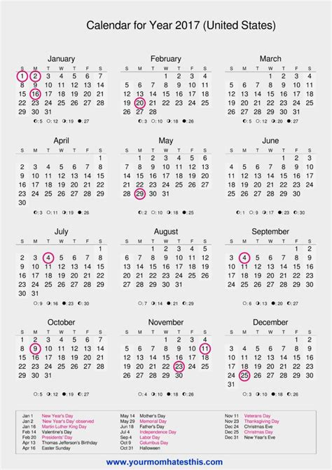 printable calendar holidays 2017 2017 calendar templates high quality download