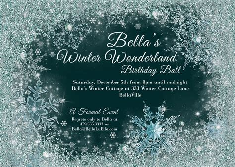Winter Wonderland Party Winter Snowflake Ball Invitation Free Winter Invitations Templates