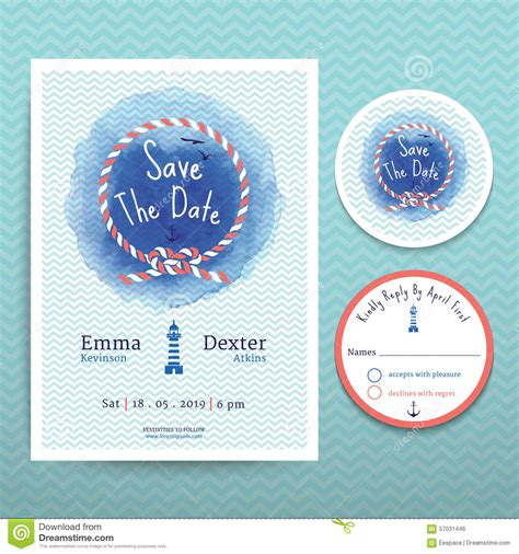 Nautical Rope Water Colour Wedding Invitation And Rsvp Card Template Set Stock Vector Image Nautical Save The Date Template