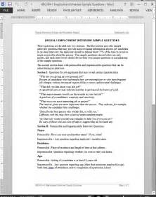 Sample Essay Question For Job Interview Job Interview Questions Template