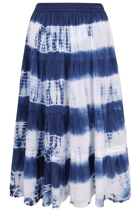 blue white tie dye tiered crinkle maxi skirt plus size