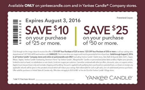 new yankee candle printable coupons yankee candle 10 off a 25 purchase coupon today only