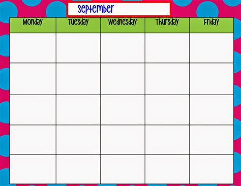 monday through friday calendar template calendar monday through friday calendar template 2016